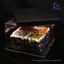 Luxo personalizado tamanho caixa de bolo de papel de arte negra com alça