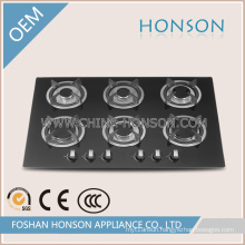 Luxury Tempered Glass Built in Enamel 6 Burner Gas Hob Gas Cooker