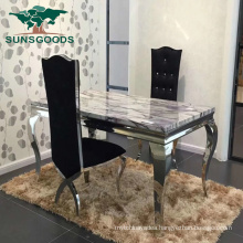 Modern Design Rectangle Dining Table with Marble Top for Wedding
