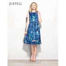 Vestido floral azul das mulheres