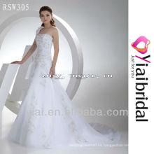 RSW305 un hombro diseños de bordado para el vestido de novia de organza