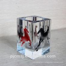 2015 papeterie de bureau de cristal. porte-plume en cristal avec cheval de couleur