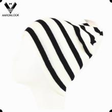 Men's Winter Moda Preto Branco Stripe Knitted Sports Hat