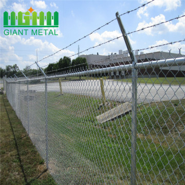 Galvanized+chain+fence+with+top+barbed+wire