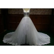 Chic Organza V Neck Appliqued Beaded Lace Wedding Dress Vestido de noiva com faixa de fita BYB-14508