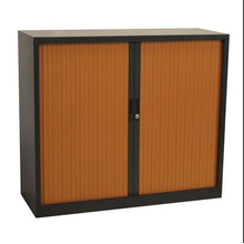 Black and Brown Rolling Door Filing Cabinet
