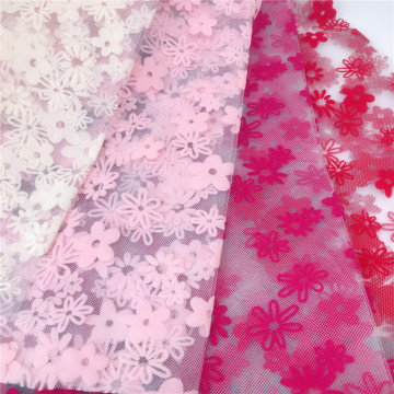 Flowers Flocking Printed Tulle Fabric for Girl's Dress