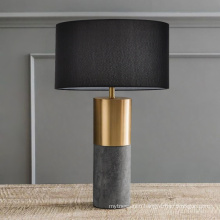 Modern Marble & Metal beside Table Lamp With Fabric Shade for hotel room
