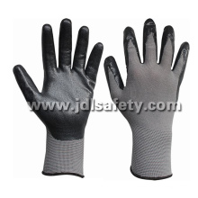 Nylon gris de punto guantes con nitrilo espuma transpirable negro (N1566BRF) de la capa de trabajo