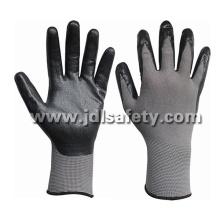 Nylon cinza de malha luvas com nitrilo preto espuma respirável revestimento (N1566BRF) de trabalho