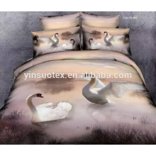 swan and sunflower pattern polyester 3D pillow cover and bed sheets