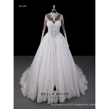 2017 nouvelle conception manches longues robe de mariage train cathédrale