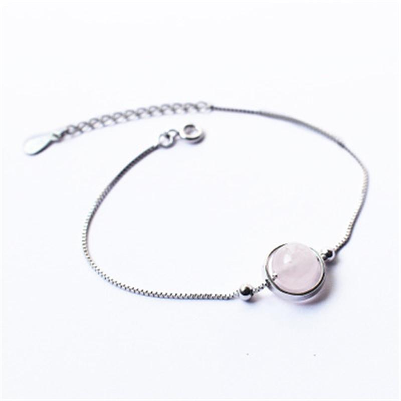 S925 Sterling Silver Pink Crystal Bracelet