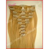 High grade double drawn hair without silicone gold hair clips in remy hair