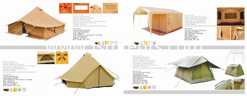 Outdoor waterproof cotton canvas relief tent