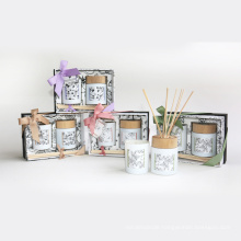 gift set 100g paraffin/soy wax glass cup and 100ml reed diffuser in gift box