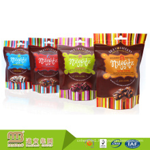 Custom Logo Design Mini Plastic Stand Up Ziplock Sweet Candy / Chocolate Food Packaging Bags With Hang Hole