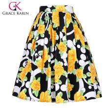 Grace Karin Frauen Vintage Retro gefaltete Baumwolle Blumenmuster Rock 5 Muster CL010401-3