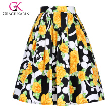 Grace Karin Mujer Vintage retro plisada falda de impresión floral de algodón 5 patrones CL010401-3