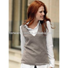 LADIES' CASHMERE V NECK PULLOVER
