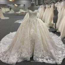 Elegante hombro vestido de bola marfil vestidos de novia WT260 Vestido de novia 2017
