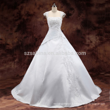 2017 satin pleats beads cap sleeve ball gown wedding dress with real pictures