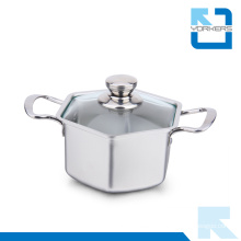304 Stainless Steel Hexagon Shape Stock Pot Wholesale