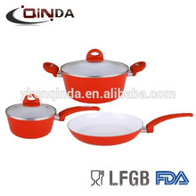 ceramic silicone handle cookware set