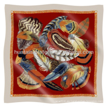 Bufanda de seda patrón de plumas 100% sarga cuadrado bufanda de seda