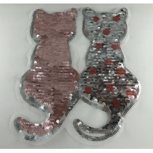 Patch Sequin Chat Réversible Argent Rose