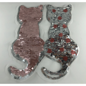 Rosa silberner Reversible Cat Sequin Patch