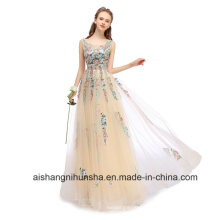 Lace Embroidery Long Evening Dress Elegant Sleeveless Prom Party Gowns