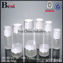 60ml frosted glass pump bottle with white cap, 30ml, 40ml, logo printed, one free sample, small order