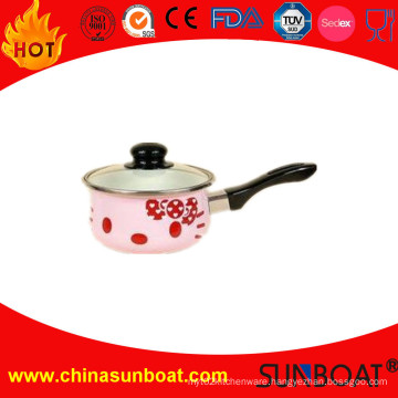 16*8cm Carbon Steel Cookware Enamel Milk Pot