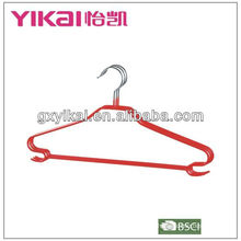 pvc coated metal hanger for shirt with trousers bar