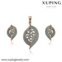 64186 xuping fashion hot sale delicate 18k gold turkish jewelry 2 piece jewelry sets