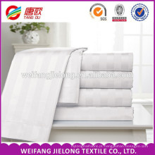 Tecido 100% do hotel do algodão liso / cetim / listra 100% algodão Folha de cama do hotel tecido da listra do cetim, tela ajustada do fundamento do hotel