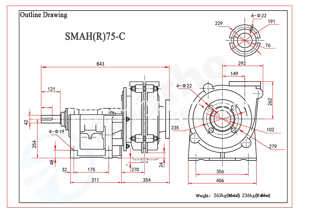 SMAH(R)75-C outline drawing