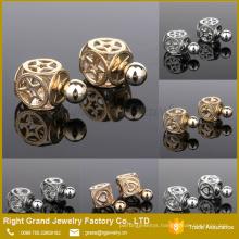 12mm Silver & Gold Hollow Design Zircon Ear Studs