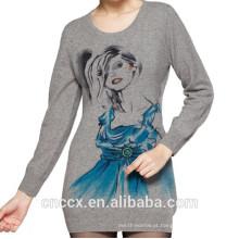 15STC5202 Suéter Impresso em Caxemira