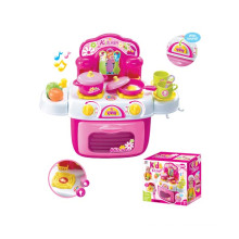 Girls Plastic Electric Pretend Play Set Kitchen Toy with Music and Light