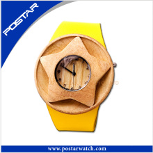 100% Natural Wood Leather Swiss Watch with Custom Logo