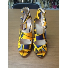 African Printed Fabric Peep Toe Sandal Shoes (HCY02-1516)