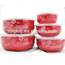 5PCs high quanlity red design enamel ice bowl &PE lid