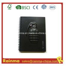 Черный PVC бумажный блокнот с ручной форме гранаты