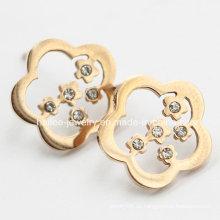 Blumen-Edelstahl-Ohrring-Schmuck mit Steinen