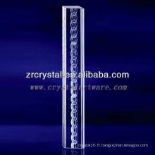 Cristal gravé par 3D de chaîne de K9 3D gravé avec la forme de pilier