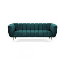 Modern American Style Gold Leg Living Room Couch Green Fabric Upholstery Sofa