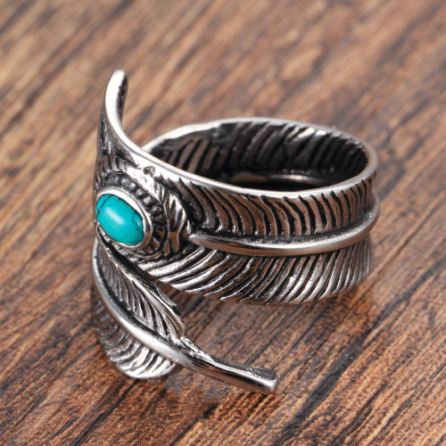 Retro fashion silver feather ring