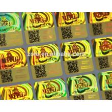 Caractéristique anti-contrefaçon et impression d'autocollants hologrammes en PET